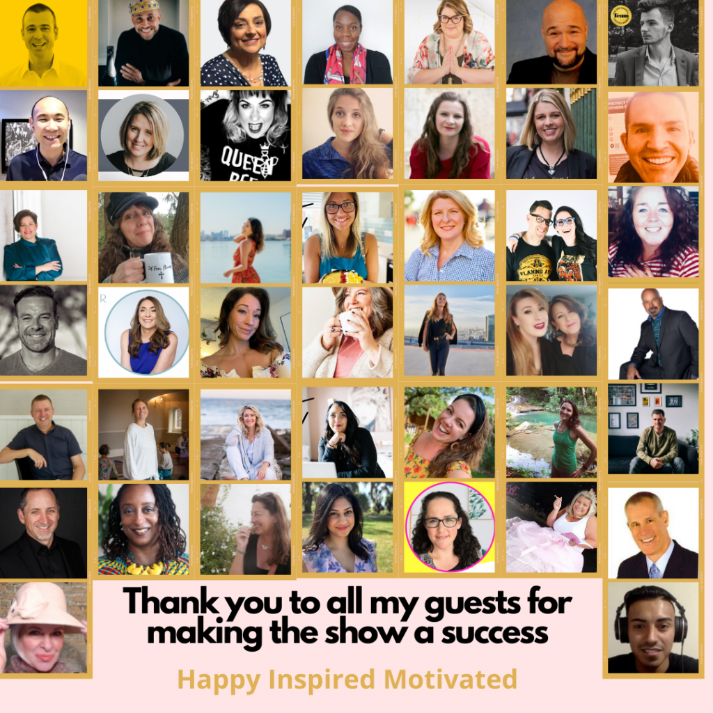 44 guests, 70 episodes, Happy birthday Happy Inspired Motivated!